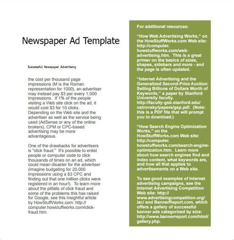 newpaper card ad templates 7 sle newspaper ads sle templates
