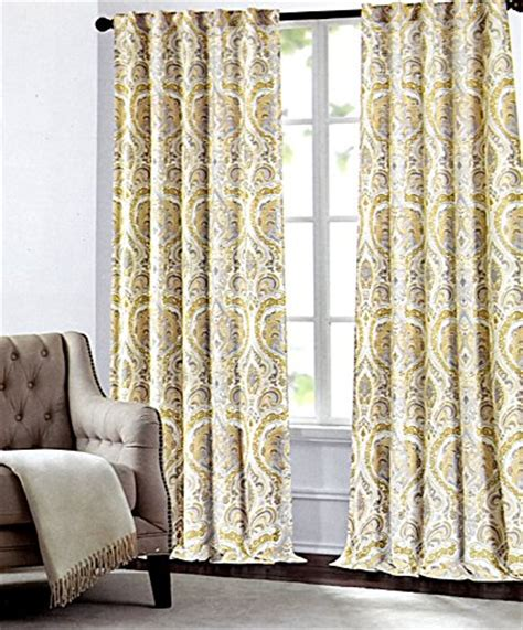 yellow and beige curtains tahari home camden paisley scrolls window panels 52 by 96