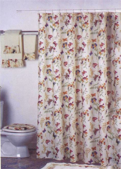 purple shower curtain set new butterfly floral fabric shower curtain liner set