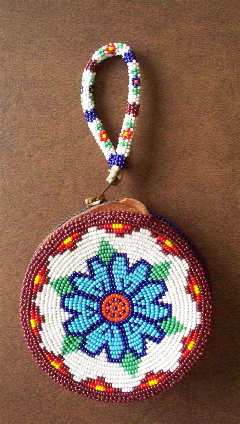 bead work american beadwork beaded coin purse leather pouch