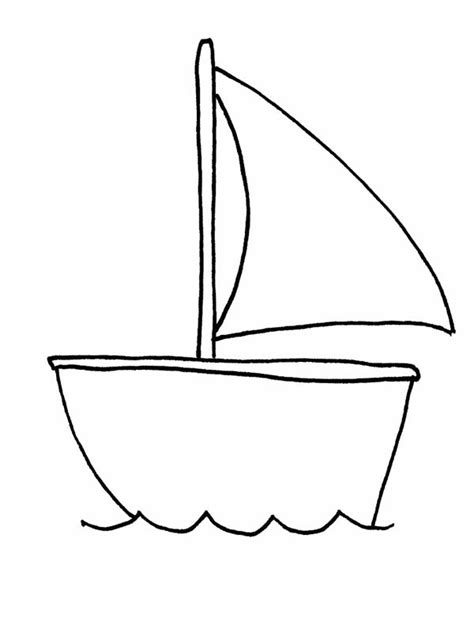 tiny boat drawing drawn sailing boat outline pencil and in color drawn
