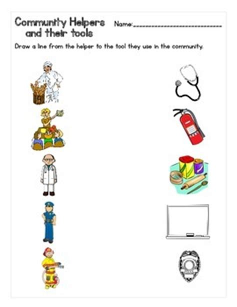 one helpers community helpers and their tools matching worksheet tpt