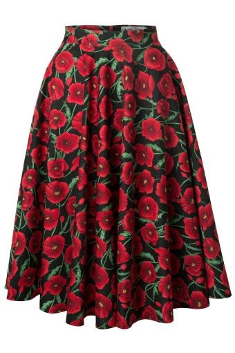 Skirt The Typical Day Swing The Usual Days Pv 0117015 50s poppy swing skirt