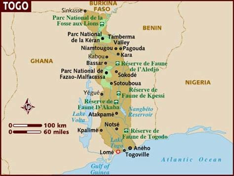 togo on a map map of togo