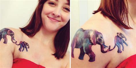 elephant tattoo collar bone baby and mama elephant by dorothy lyczek tat me up