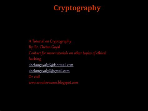 cryptography tutorial cryptography