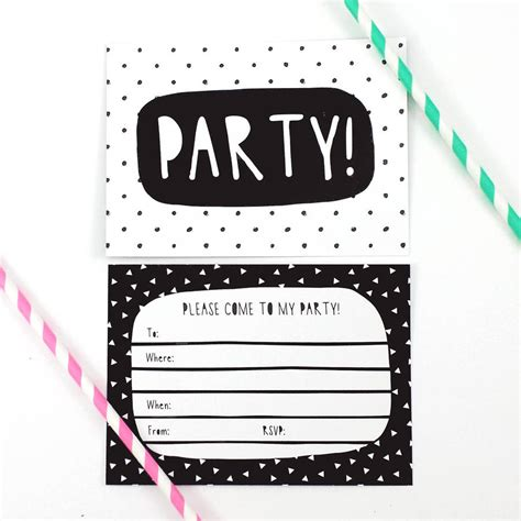 Black And White Birthday Invitation Card Template by Black And White Invitations By Of Lemons