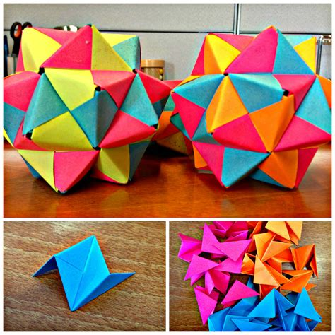 Origami With Post Its - post it origami icosahedron origami desks and oragami