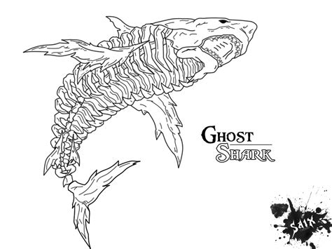 scary shark coloring page ghost shark by sykes one on deviantart