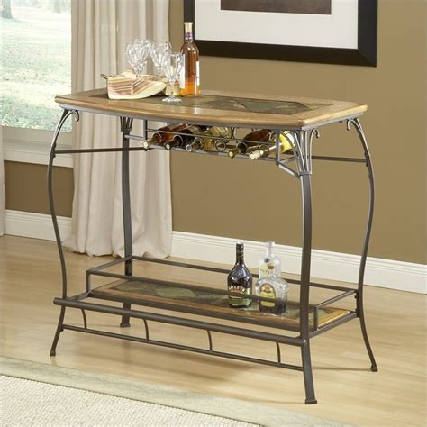 slate bar top hillsdale lakeview wood and slate top home bar table in brown and medium oak finish