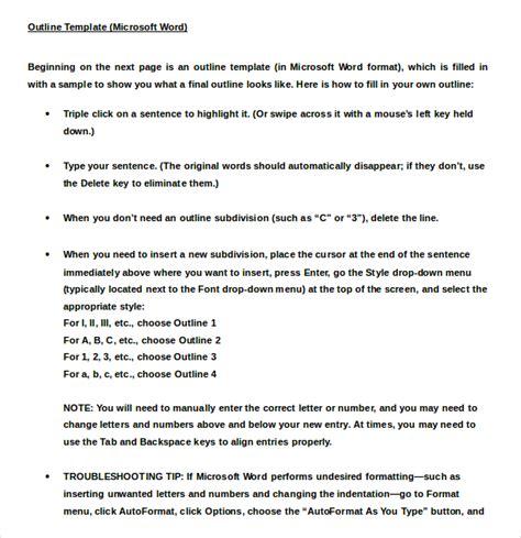 apa outline template sle apa paper in word format