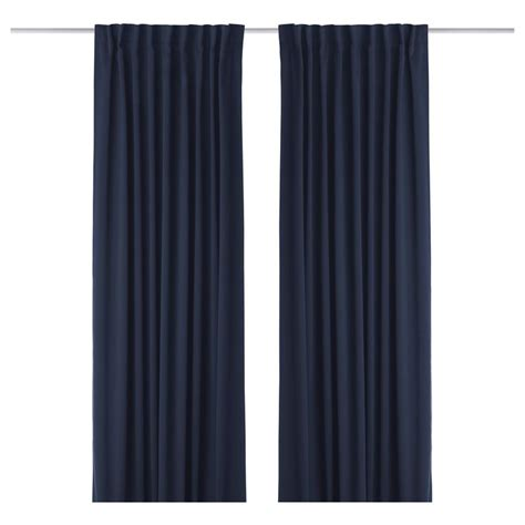 Werna Block Out Curtains 1 Pair Dark Blue