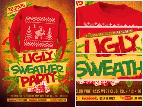 ugly sweater flyer template 2 flyerheroes