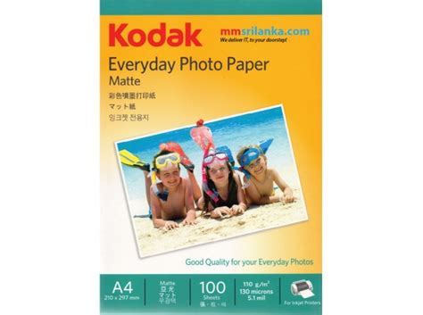 Ink Jet Paper Mitsubishi A4 Dd163 kodak everyday photo paper matte a4 110gm 100 sheets pack
