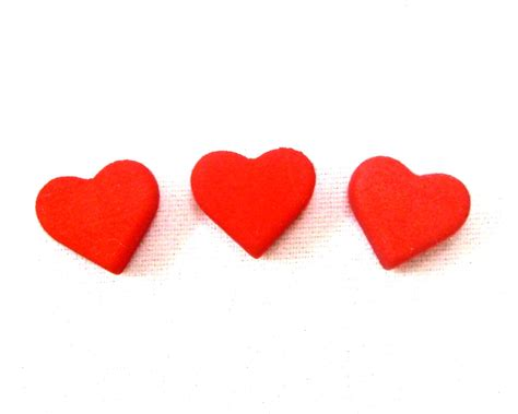 three s small red heart token 3d printed plastic