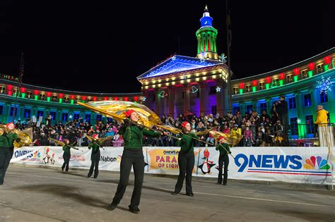 parade of lights denver the csu marching band leads the 9news parade of lights