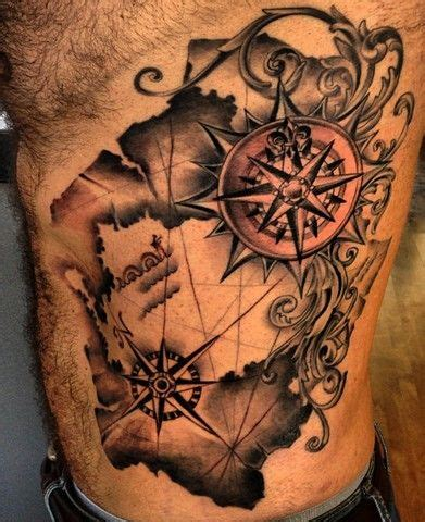 504 tattoo designs black ink map with two compass on side rib