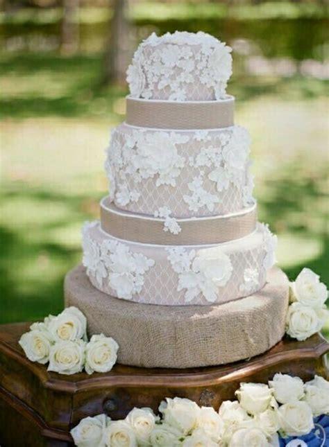 Rustic Wedding   Burlap Lace Wedding Cake #2037992   Weddbook