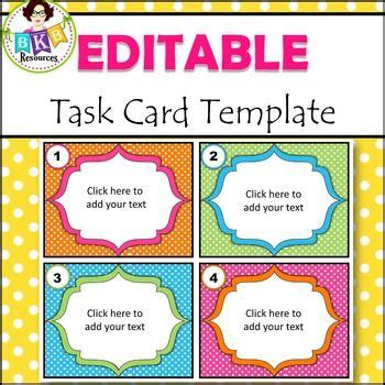 blank task cards template save time with this task card template it is already set
