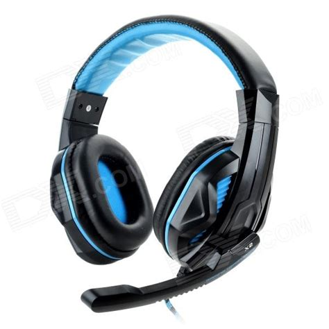 Sound Card Headset Gaming 3 5mm headband wired gaming headset w sound card microphone black light blue 240cm
