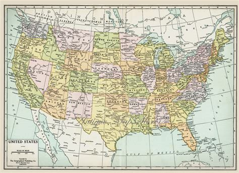 www map of united states large map of united states america 1930 atlas antique map