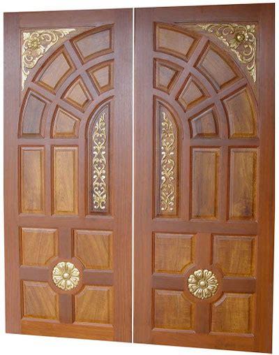 kerala model wooden front door double door designs
