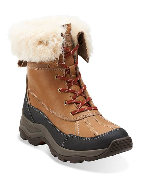 arctic boots for clarks arctic venture leather and faux fur boots in