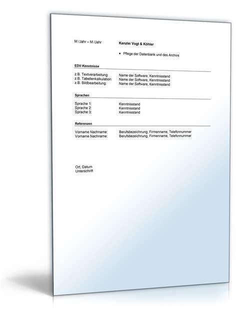 Bewerbungsschreiben Ausbildung Rechtsanwalts Und Notarfachangestellte lebenslauf rechtsanwalts und notarfachangestellte