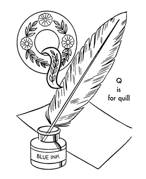 coloring pages for q quill pen image cliparts co