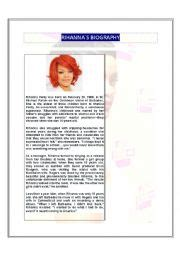 esl biography exercise english worksheets rihanna biography worksheets