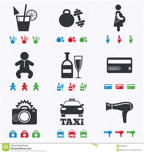 Apartment Services One Time Payment Hotel Apartment Service Icons Fitness Stock Vector