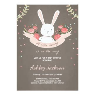 Rabbit Baby Shower Invitations by Bunny Baby Shower Invitations Announcements Zazzle