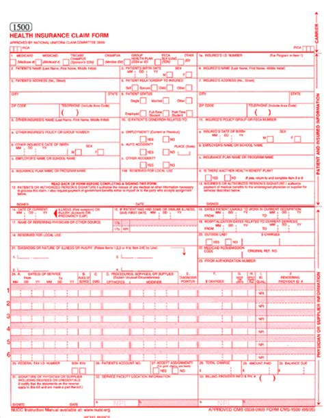 1500 claim form template sle cms 1500 claim form pdf pictures to pin on