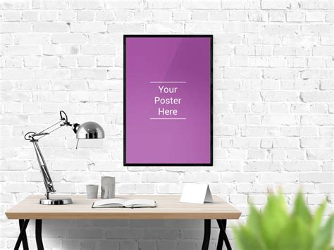 Posters For Office Desk Wall Poster Desk Mockup Mockupblast