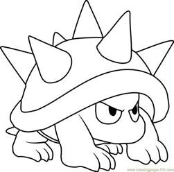 spiny coloring page free super mario coloring pages
