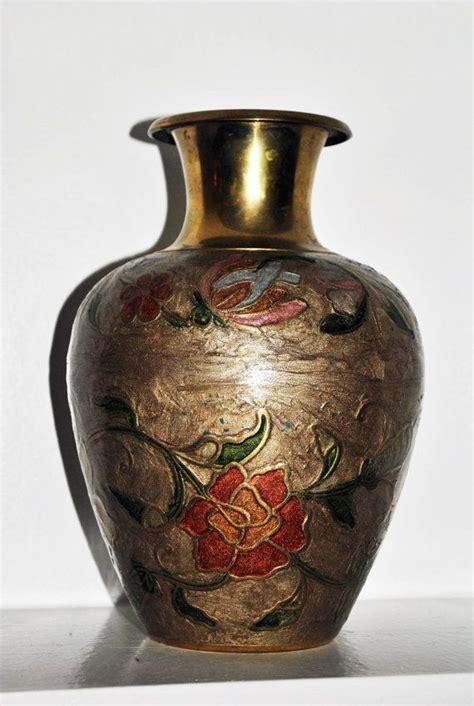 solid brass vintage cloisonne vase made in india vintage