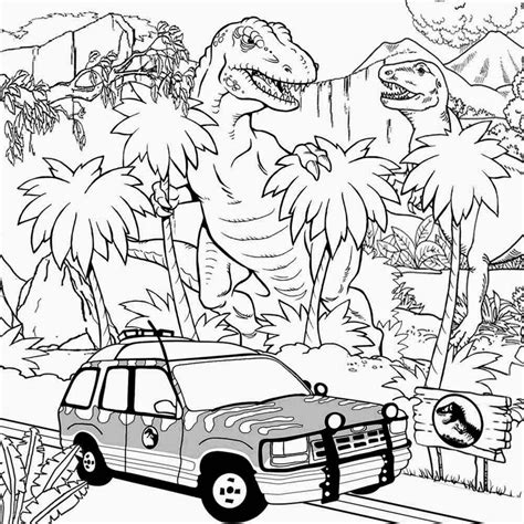 Image Rex Jurassic Park Coloring Pages Adults Realistic Jurassic Park Coloring Pages