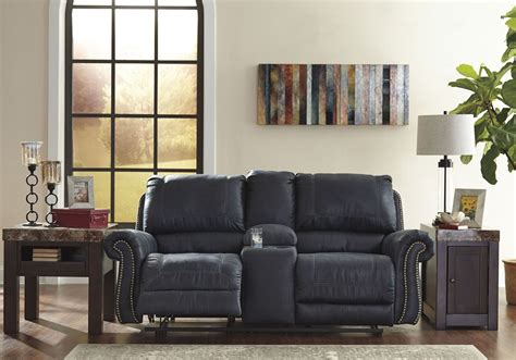 milhaven reclining sofa reviews milhaven navy reclining console loveseat from
