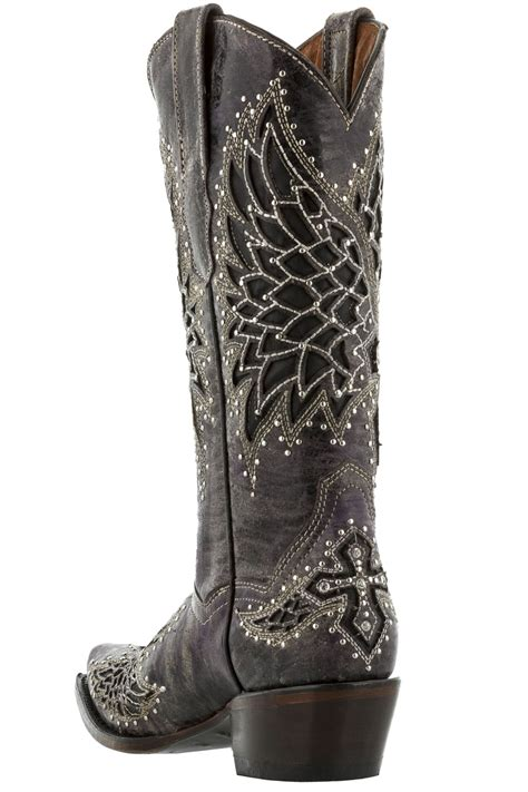 studded boots for womens wings cross rhinestones studded leather