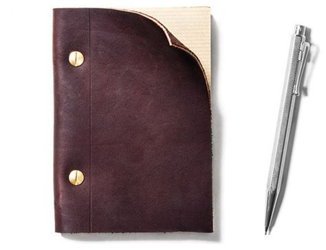 Refillable Brown Leather Notebook Small Traditional Brown Leather Desk Accessories