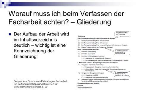 Bewerbung Inhaltsverzeichnis Anhang Hinweise Zur Facharbeit August Dicke Schule Oberstufe