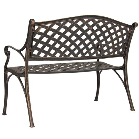 cast aluminum outdoor bench best choice products cozumel antique copper cast aluminum