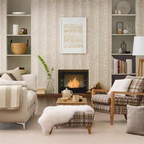neutral living room decorating ideas neutral living room with patterned wallpaper housetohome