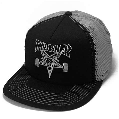 Topi Hat Hat Thrasher thrasher magazine skate goat embroidered mesh hat in stock at spot skate shop