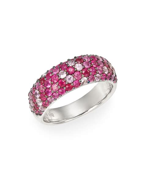 effy ruby pink sapphire sterling silver ring in pink lyst