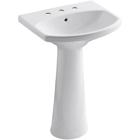 Kohler White Pedestal Sink Kohler Cimarron 8 In Widespread Vitreous China Pedestal