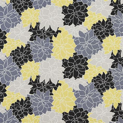 grey and yellow upholstery fabric floral outdoor indoor upholstery fabric black grey and