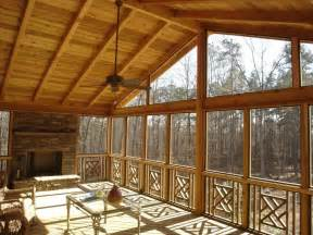 interior of gable roof screened porch archadeck of the
