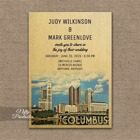 Wedding Invitations Columbus Ohio by Columbus Ohio Wedding Invitation Printed Nifty Printables