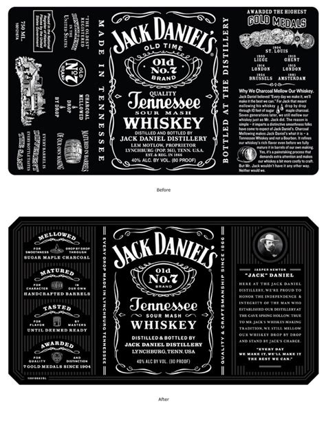 design jack daniels label jack daniel s tennessee whiskey the dieline packaging